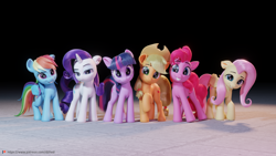 Size: 5760x3240   Tagged: safe, artist:therealdjthed, character:applejack, character:fluttershy, character:pinkie pie, character:rainbow dash, character:rarity, character:twilight sparkle, species:earth pony, species:pegasus, species:pony, species:unicorn, g4, 3d, blender, female, grin, happy, happy birthday mlp:fim, mare, mlp fim's eleventh anniversary, smiling