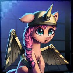 Size: 1024x1024   Tagged: safe, artist:adagiostring, character:sunny starscout, species:earth pony, species:pony, g5, my little pony: a new generation, artificial wings, augmented, braid, chest fluff, confused, cute, female, foreshadowing, halftone, mare, mecha, mechanical wing, movie, my little pony, one ear down, open mouth, scene interpretation, signature, solo, wings
