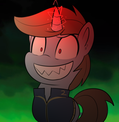 Size: 1000x1032   Tagged: safe, artist:icey, oc, oc only, oc:littlepip, species:pony, species:unicorn, fallout equestria, g5, my little pony: a new generation, clothing, crossover, evil, evil grin, fallout, female, grin, horn, looking at you, magic, mare, no pupils, possessed, rarity jeong, red eyes, sharp teeth, shrunken pupils, smiling, smiling at you, solo, tail, teeth, unicorn oc, vault suit
