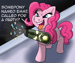 Size: 1280x1081   Tagged: safe, artist:pony-thunder, character:pinkie pie, species:earth pony, species:pony, g4, arm cannon, comic, confetti, crossover, dialogue, female, mare, metroid, metroid dread, open mouth, raised hoof, solo, text, tongue out