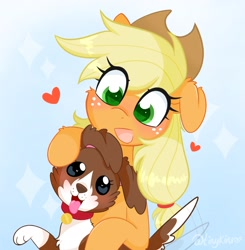 Size: 2005x2048   Tagged: safe, artist:tinykiru, character:applejack, character:winona, species:dog, species:earth pony, species:pony, ponytober, g4, applejack's hat, blushing, cheek fluff, clothing, colored pupils, cowboy hat, cute, duo, ear fluff, eye clipping through hair, female, floppy ears, freckles, green eyes, hat, heart, high res, jackabetes, mare, motion lines, open mouth, open smile, simple background, smiling, stetson, tail, tail wag, winonabetes