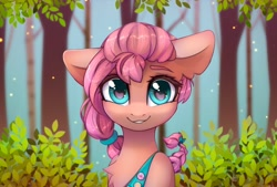 Size: 1748x1181   Tagged: safe, artist:art_n_prints, artist:reterica, character:sunny starscout, species:earth pony, species:pony, g5, badge, braid, bust, chest fluff, collaboration, colored eyebrows, ear fluff, eyebrows visible through hair, female, floppy ears, fluttershy's cutie mark, forest, grin, leaf, looking at you, mare, smiling, smiling at you, solo, sunny's buttons, tree, twilight sparkle's cutie mark
