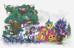 Size: 3400x2200   Tagged: safe, artist:lytlethelemur, character:hitch trailblazer, character:izzy moonbow, character:pipp petals, character:rainbow dash, character:sunny starscout, character:zipp storm, species:earth pony, species:pegasus, species:pony, species:unicorn, g4, g5, bird, blaze (coat marking), blue jay, crossover, discord lamp, doctor who, doll, female, food, golden oaks library, gradient mane, gun, handgun, holding, implied scootaloo, jar, katana, little macintosh, male, mane g5, mannequin, mare, mouth hold, muffin, multicolored hair, pipp wings, pistol, ponyville, revolver, ruins, scepter, scooter, selfie, shovel, stallion, sword, tardis, toy, twilight scepter, vine, weapon
