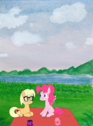 Size: 1536x2064   Tagged: safe, artist:kurisunimii, character:applejack, character:pinkie pie, species:earth pony, species:pegasus, species:pony, ship:applepie, g4, alternate universe, cottagecore, female, glasses, lesbian, looking at each other, lying down, nature, naturecore, nerd applejack, old version, painting, pegasus pinkie pie, picnic, prone, race swap, shipping, traditional art, watercolor background, watercolor painting