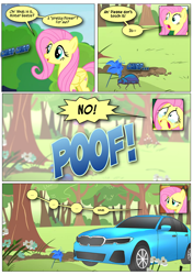 Size: 868x1230 | Tagged: safe, artist:dziadek1990, edit, edited screencap, screencap, character:fluttershy, species:pegasus, species:pony, episode:filli vanilli, episode:fluttershy leans in, episode:stare master, g4, my little pony: friendship is magic, beetle, big no, bmw, bmw 5-series, car, comic, confused, conversation, crying, dialogue, insect, panic, poison joke, scared, screencap comic, tears of fear, terrified, text, transformation, wat