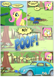 Size: 868x1230 | Tagged: safe, alternate version, artist:dziadek1990, edit, edited screencap, screencap, character:fluttershy, species:pegasus, species:pony, episode:filli vanilli, episode:fluttershy leans in, episode:stare master, g4, my little pony: friendship is magic, beetle, big no, car, comic, confused, conversation, crying, dialogue, insect, panic, poison joke, pun, scared, screencap comic, tears of fear, terrified, text, transformation, visual gag, volkswagen, volkswagen beetle, wat