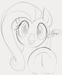 Size: 628x758 | Tagged: safe, artist:dotkwa, character:fluttershy, species:pegasus, species:pony, g4, boop, cute, dialogue, female, frog (hoof), grayscale, hooves, looking at you, mare, monochrome, shyabetes, simple background, sketch, solo, speech bubble, text, underhoof
