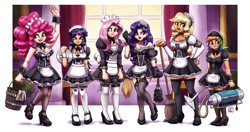 Size: 2840x1500 | Tagged: safe, artist:king-kakapo, character:applejack, character:fluttershy, character:pinkie pie, character:rainbow dash, character:rarity, character:twilight sparkle, species:human, g4, broom, clothing, curtains, dress, duster, female, garters, height difference, high heels, humanized, maid, maid headdress, mane six, mop, pantyhose, ponytail, questionable source, scrunchie, shoes, socks, species swap, stockings, thigh highs, vacuum cleaner, window
