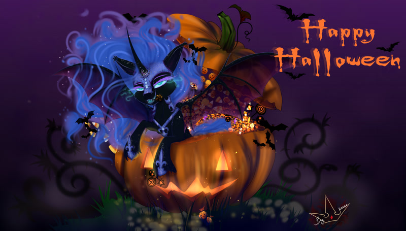 Size: 4500x2560   Tagged: safe, artist:martazap3, character:nightmare moon, character:princess luna, species:alicorn, species:bat pony, species:pony, g4, bat wings, candy, dark magic, featured image, female, food, glowing eyes, halloween, holiday, horn, jack-o-lantern, lollipop, looking at you, magic, mare, mouth, night, pumpkin, solo, teeth, text, wings