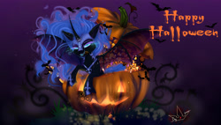 Size: 4500x2560 | Tagged: safe, artist:martazap3, character:nightmare moon, character:princess luna, species:alicorn, species:bat pony, species:pony, g4, bat wings, candy, dark magic, featured image, female, food, glowing eyes, halloween, holiday, horn, jack-o-lantern, lollipop, looking at you, magic, mare, mouth, night, pumpkin, solo, teeth, text, wings