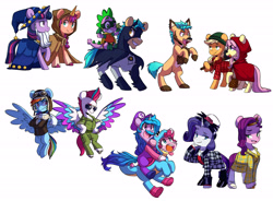 Size: 6120x4500 | Tagged: safe, artist:chub-wub, character:applejack, character:fluttershy, character:hitch trailblazer, character:izzy moonbow, character:pinkie pie, character:pipp petals, character:rainbow dash, character:rarity, character:spike, character:sunny starscout, character:twilight sparkle, character:zipp storm, species:earth pony, species:pegasus, species:pony, species:unicorn, g4, g5, my little pony: a new generation, absurd resolution, batman, big bad wolf, blaze (coat marking), clothing, clover the clever's cloak, coat markings, colored eyebrows, colored hooves, colored wings, costume, crossover, dc comics, eye clipping through hair, eyebrows visible through hair, female, flying, g4 to g5, generation leap, gradient mane, halloween, halloween costume, holiday, hooves, lumberjack, male, mane g5, mane seven, mane six, mare, mario, multicolored hair, multicolored wings, nintendo, open mouth, open smile, pipp wings, raised hoof, rearing, red riding hood, robin, simple background, smiling, socks (coat marking), stallion, star swirl the bearded costume, super mario bros., three quarter view, unshorn fetlocks, white background, wings, yoshi