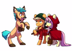 Size: 3947x2791 | Tagged: safe, artist:chub-wub, character:applejack, character:fluttershy, character:hitch trailblazer, species:earth pony, species:pegasus, species:pony, species:unicorn, g4, g5, my little pony: a new generation, animal costume, big bad wolf, clothing, colored eyebrows, costume, eye clipping through hair, eyebrows visible through hair, female, freckles, halloween, halloween costume, holiday, lumberjack, male, mare, open mouth, part of a set, rearing, red riding hood, simple background, stallion, three quarter view, werewolf, white background, wolf costume
