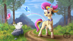 Size: 1536x864   Tagged: safe, artist:cafecomponeis, character:cloudpuff, oc, oc only, oc:trinity deblanc (new), species:dog, species:pony, species:unicorn, g5, my little pony: a new generation, butterfly, cloud, crystal, cute, detailed, digital art, ear piercing, earring, flying pomeranian, grass, jewelry, looking at you, mountain, multicolored hair, ocbetes, open mouth, open smile, painting, piercing, pomeranian, rainbow, raised hoof, road, rock, sky, smiling, smiling at you, stone, style emulation, tree, unshorn fetlocks, winged dog