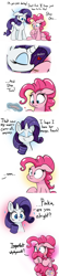 Size: 750x3500 | Tagged: safe, artist:bellspurgebells, character:pinkie pie, character:rarity, species:earth pony, species:pony, species:unicorn, ship:raripie, g4, bandage, bandaid, blushing, comic, crush, cute, dialogue, diapinkes, eyes closed, female, heart, kiss it better, kissing, lesbian, mare, shipping, tail hug