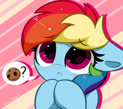 Size: 4292x3824 | Tagged: safe, artist:kittyrosie, character:rainbow dash, species:pegasus, species:pony, g4, :c, abstract background, begging, blushing, cookie, cute, daaaaaaaaaaaw, dashabetes, dialogue, eyebrows, eyebrows visible through hair, female, floppy ears, food, frown, kittyrosie is trying to murder us, looking at you, mare, solo, speech bubble, text, weapons-grade cute