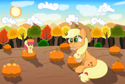 Size: 2160x1460 | Tagged: safe, artist:spellboundcanvas, character:apple bloom, character:applejack, species:earth pony, species:pony, g4, apple family member, autumn, bush, cloud, eating, female, filly, food, herbivore, horses doing horse things, mare, munching, pumpkin, tree, young