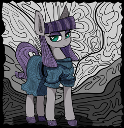 Size: 6850x7015 | Tagged: safe, artist:paskanaakka, derpibooru original, character:maud pie, species:earth pony, species:pony, g4, abstract background, clothing, colored hooves, dress, ear fluff, explicit source, female, hooves, looking sideways, mare, solo, unshorn fetlocks