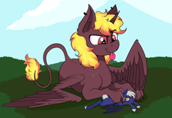 Size: 6043x4160 | Tagged: safe, artist:paskanaakka, derpibooru original, oc, oc only, oc:duty crew (uni), species:alicorn, species:bat pony, species:pony, bat pony oc, bat wings, blep, colored hooves, duo, explicit source, eyebrows visible through hair, giant sphinx, hooves, hybrid, leonine tail, macro, paws, pinned, size difference, species:sphinx, spread wings, tail, the weak should fear the strong, tongue out, wings