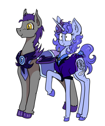 Size: 5680x6816 | Tagged: safe, artist:paskanaakka, derpibooru original, oc, oc only, oc:dartwing, oc:midnight dew, species:bat pony, species:pony, species:unicorn, episode:the cutie re-mark, g4, my little pony: friendship is magic, armor, clothing, colored hooves, couple, cutie mark, duo, duo male and female, explicit source, female, happy, hooves, horn, male, mare, night guard, night guard armor, nightmare takeover timeline, oc x oc, pinpoint eyes, royal guard, shipping, simple background, slit eyes, smiling, stallion, straight, tail, transparent background, uniform, unshorn fetlocks