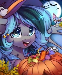 Size: 1707x2048 | Tagged: safe, artist:reterica, oc, oc only, oc:luny, species:bat pony, species:pony, bat, blue eyes, candy, clothing, colored eyebrows, cute, food, hairclip, halloween, hat, holiday, horseshoes, looking at you, moon, multicolored mane, ocbetes, open mouth, open smile, pumpkin bucket, smiling, solo, two toned mane