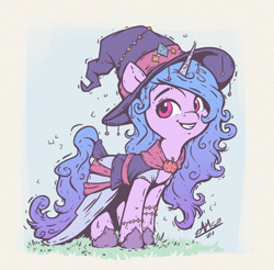 Size: 1200x1180 | Tagged: safe, artist:assasinmonkey, character:izzy moonbow, species:pony, species:unicorn, g5, my little pony: a new generation, bracelet, clothing, colored hooves, costume, cute, female, gradient mane, gradient tail, halloween, halloween costume, hat, holiday, hooves, izzybetes, jewelry, mare, multicolored hair, signature, simple background, smiling, solo, unshorn fetlocks, witch, witch costume, witch hat