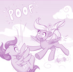 Size: 1000x992   Tagged: safe, artist:dstears, oc, oc only, unnamed oc, species:pegasus, species:pony, g5, my little pony: a new generation, cloud, descriptive noise, falling, female, flying, mare, monochrome, onomatopoeia, open mouth, part of a set, pegasus oc, poof, profile, sky, the implications are horrible, this will end in death, this will end in pain, this will end in tears, this will end in tears and/or death, three quarter view