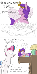 Size: 800x1611 | Tagged: safe, artist:rocket-lawnchair, character:pipp petals, character:zipp storm, species:pegasus, species:pony, g5, my little pony: a new generation, circlet, colored hooves, colored wings, dialogue, dream, dresser, eyes closed, female, hooves, lamp, lidded eyes, mare, multicolored wings, open mouth, pipp is short, pipp is small, pipp wings, pipplet, profile, size difference, sleeping, smiling, spread wings, surprised, unshorn fetlocks, wings