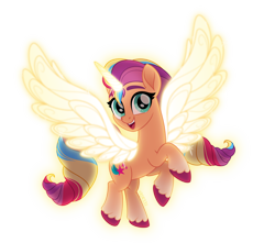 Size: 4000x3540 | Tagged: safe, artist:orin331, character:sunny starscout, species:alicorn, species:earth pony, species:pony, g4, g5, my little pony: a new generation, my little pony: the movie (2017), alicornified, artificial horn, artificial wings, augmented, coat markings, colored hooves, female, hooves, looking at you, magic, magic horn, magic wings, mare, movie accurate, multicolored hair, open mouth, open smile, race swap, signature, simple background, smiling, socks (coat marking), solo, style emulation, sunnycorn, transparent background, unshorn fetlocks, wings