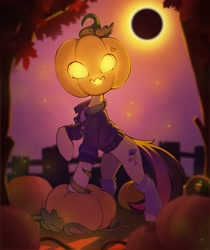Size: 1630x1937 | Tagged: safe, artist:rexyseven, oc, oc only, species:pony, art trade, clothing, cutie mark, eclipse, fence, food, halloween, holiday, jack-o-lantern, jacket, leg warmers, nightmare night, pumpkin, solo, spooky