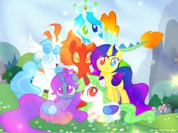 Size: 1000x748   Tagged: safe, artist:memengla, base used, oc, oc:core, oc:cosmic, oc:dragonfire, oc:elemental empress, oc:nexus, oc:snowflake, species:alicorn, species:pony, free art