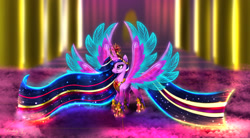 Size: 2500x1375   Tagged: safe, artist:darksly, character:twilight sparkle, character:twilight sparkle (alicorn), species:alicorn, species:pony, g4, big crown thingy, clothing, commission, crown, element of magic, ethereal mane, female, four wings, galaxy mane, hoof shoes, horn, jewelry, long mane, mare, multiple horns, multiple wings, necklace, peytral, rainbow power, regalia, seraph, seraphicorn, shoes, solo, spread wings, ultimate twilight, wings