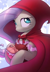Size: 1927x2750 | Tagged: safe, artist:nookprint, character:fluttershy, species:pegasus, species:pony, g4, basket, blushing, cloak, clothing, crossover, cute, dress, female, hood, hoof hold, little red riding hood, looking away, looking sideways, mare, picnic basket, shyabetes, solo, this will end in tears