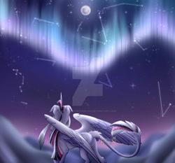 Size: 1280x1195   Tagged: safe, artist:eyesorefortheblind, oc, oc:mystic mysteries, species:alicorn, species:pony, alicorn oc, aurora borealis, deviantart watermark, horn, leonine tail, moon, obtrusive watermark, solo, stars, tail, watermark, wings