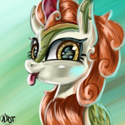 Size: 1080x1080   Tagged: safe, artist:arkhat, character:autumn blaze, species:kirin, g4, :p, abstract background, awwtumn blaze, blep, bust, cute, female, green background, looking at you, portrait, signature, simple background, smiling, solo, tongue out