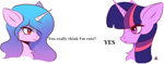 Size: 1380x541   Tagged: safe, artist:delta hronum, artist:delta_hronum, character:izzy moonbow, character:twilight sparkle, character:twilight sparkle (unicorn), species:pony, species:unicorn, g4, g5, bust, chest fluff, female, gradient mane, mare, meme, multicolored hair, nordic gamer, ponified, ponified meme, portrait, profile, simple background, text, white background