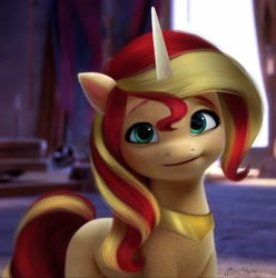 Size: 1078x1085 | Tagged: safe, artist:mira.veike, edit, edited screencap, screencap, character:sunset shimmer, species:pony, species:unicorn, g4, g5, my little pony: a new generation, my little pony:equestria girls, female, g4 to g5, generation leap, jewelry, mare, regalia, solo