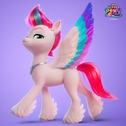 Size: 1080x1080 | Tagged: safe, artist:jonatancatalan, official, character:zipp storm, species:pegasus, species:pony, g5, my little pony: a new generation, 3d, colored wings, eyebrows, feathered fetlocks, female, jewelry, logo, looking at you, mare, multicolored wings, my little pony logo, necklace, regalia, simple background, solo, spread wings, unshorn fetlocks, wings