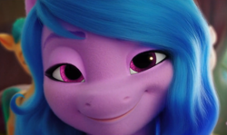 Size: 1339x797   Tagged: safe, screencap, character:izzy moonbow, species:pony, species:unicorn, g5, my little pony: a new generation, close-up, gradient mane, lidded eyes, looking at you, multicolored hair, smiling, smiling at you, solo
