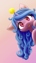 Size: 2700x4800   Tagged: safe, artist:symbianl, character:izzy moonbow, species:pony, species:unicorn, g5, my little pony: a new generation, :3, :p, ball, blep, cheek fluff, childproof horn, colored pupils, cute, ear fluff, female, fluffy, gradient background, gradient mane, horn, hornball, izzy's tennis ball, izzybetes, leg fluff, looking at you, mare, multicolored hair, neck fluff, one ear down, signature, simple background, smiling, solo, tennis ball, tongue out, toy