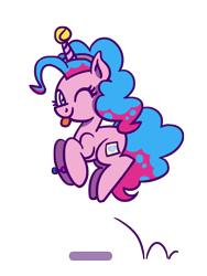 Size: 1350x1800   Tagged: safe, artist:flutterluv, character:izzy moonbow, character:pinkie pie, species:earth pony, species:pony, species:unicorn, g4, g5, :p, ;p, ball, blep, bouncing, bracelet, childproof horn, fake cutie mark, fake horn, female, gradient mane, hopping, horn, hornball, izzy's tennis ball, jewelry, looking at you, mare, multicolored hair, one eye closed, pronking, simple background, solo, tennis ball, tongue out, toy, transparent background, wink, winking at you