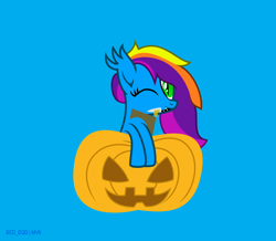 Size: 5428x4739   Tagged: safe, artist:s-class-destroyer, oc, oc only, oc:elyssiánne, species:bat pony, species:pony, blue background, digital art, female, food, halloween, holiday, knife, looking at you, one eye closed, pumpkin, simple background, solo, solo female, vector, weapon, wink