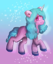 Size: 988x1200   Tagged: safe, artist:sucreebonbonz6, character:izzy moonbow, species:pony, species:unicorn, g5, my little pony: a new generation, gradient background, gradient mane, looking at you, multicolored hair, smiling, smiling at you, sparkles