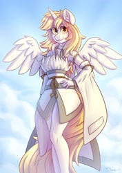 Size: 2480x3508 | Tagged: safe, artist:dandy, oc, oc only, species:alicorn, species:anthro, species:pony, alicorn oc, belt, cloak, clothing, commission, dress, ear fluff, female, hand, hand on hip, hips, horn, looking at you, mare, rope, smiling, solo, spread wings, wings, worm's eye view