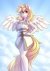 Size: 2480x3508 | Tagged: safe, artist:dandy, oc, oc only, species:alicorn, species:anthro, species:pony, alicorn oc, cloak, clothing, commission, dress, ear fluff, female, hand, hand on hip, hips, horn, looking at you, mare, rope, smiling, solo, spread wings, wings, worm's eye view