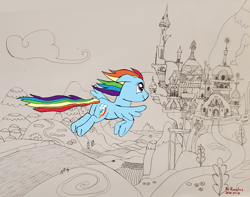 Size: 2224x1751 | Tagged: safe, artist:romulus4444, character:rainbow dash, species:pegasus, species:pony, g4, art challenge, canterlot, flying, manechat, pencil drawing, ponyday, rainbow dash day, solo