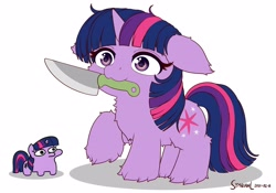 Size: 4096x2867 | Tagged: safe, artist:symbianl, character:twilight sparkle, character:twilight sparkle (unicorn), species:unicorn, g4, alternate design, fluffy, knife, mouth hold, raised hoof, simple background, solo, twiggie, white background