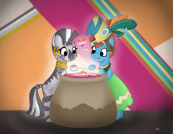 Size: 1200x926 | Tagged: safe, artist:breeze the peryton, character:meadowbrook, character:zecora, species:earth pony, species:pony, species:zebra, g4, art challenge, cauldron, headcanon, lesbian meadowbrook, lesbian pride flag, lesbian zecora, lgbt headcanon, pride flag, sexuality headcanon, ship:zecorabrook, shipping, zecorabrook