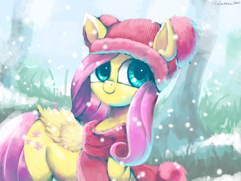 Size: 3993x3000 | Tagged: safe, artist:colochenni, character:fluttershy, species:pegasus, species:pony, g4, beanie, clothing, cold, featured image, snow, solo, sweater, winter