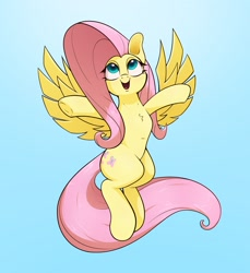 Size: 2200x2400 | Tagged: safe, artist:aquaticvibes, character:fluttershy, species:pegasus, species:pony, g4, flying, simple background, solo, spread arms, spread wings, wings