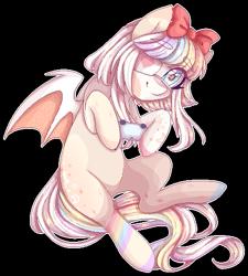Size: 457x507 | Tagged: oc needed, safe, artist:shiromidorii, oc, species:bat pony, species:pony, g4, cute, female, ocbetes, solo, video game